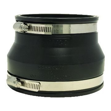 Fernco fitting rioleringsbuis, PVC, zwart, 133-120x125-110mm