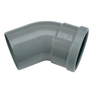 Wavin Wafix bocht 45gr 110mm, grijs mof/spie manchet, grijs