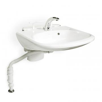 Linido wastafelmodule voor flexibele hoogte diepte verstelling voor standaard wastafel, rvs gecoat wit