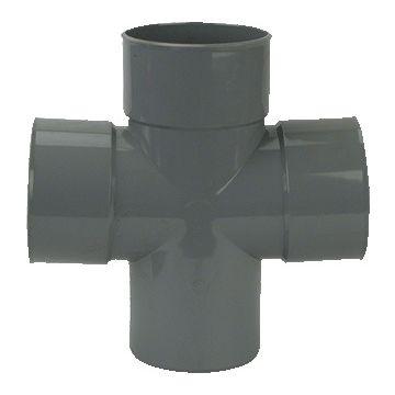 Wavin Wadal lijmfitting met 4 aansluiting, PVC, grijs, dubbel T-stuk 88°, 41