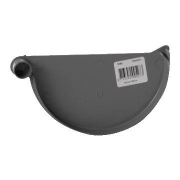 Pipelife kopschot dakgoot Eslon, grijs, di 92mm, diam 125mm, goot PVC