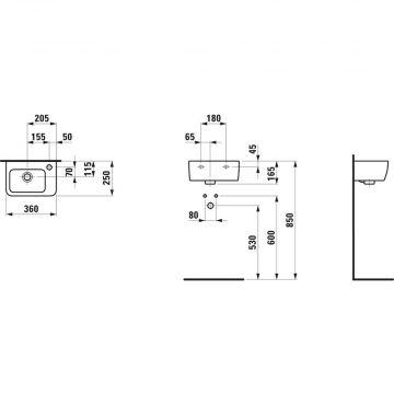 Laufen PRO fontein 36 x 25 cm, overloop rechts, wit