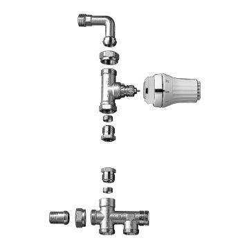 """Danfoss RA-K thermostatische vloer radiator aansluitingset met knop, twee-pijps, 1/2""""buitendraad x 15mm, vernikkeld"""