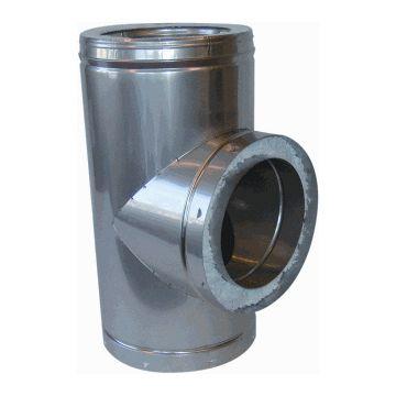 Metaloterm dubbelwandig rookgashulpstuk 3 aansluiting ATT, binnenbuis RVS