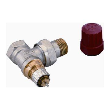 """Danfoss RA-N thermostatische radiatorkraan haaks, kort, 1/2""""binnendraad x 1/2""""bu, vernikkeld"""