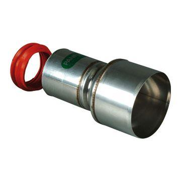 PANF enkelwandig rookgashulpstuk 2 aansluiting INOX DL50, RVS (RVS)