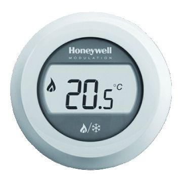 Honeywell Round Heat/Cool Modulation kamerthermostaat Opentherm met draaiknop, wit