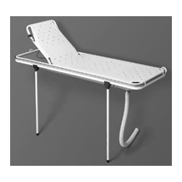 Linido doucheraam met verstelbare rugsteun, opvangbak en flexibele afvoerslang 170cm, staal gecoat wit