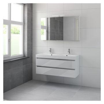 Bruynzeel Palitano badmeubelset 120 cm met dubbele wastafel en spiegelkast, glans wit