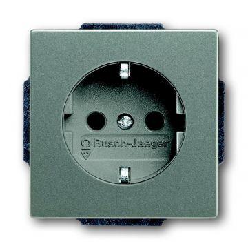 Busch-Jaeger Solo wandcontactdoos met randaarde, grijs