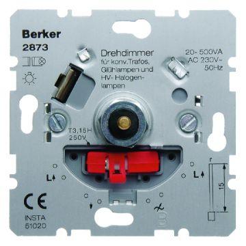 Hager berker dimmer, samenstelling basiselement, bedieningswijze draai/drukknop