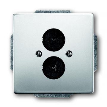 Busch-Jaeger Pure Stainless Steel centraalplaat voor 2 luidsprekerconnectoren met draagring, edelstaal