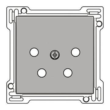Niko Intense afwerkingsset voor vierpolige inbouwcontactdoos voor het Nederlandse openbare telecommunicatienetwerk, zilver
