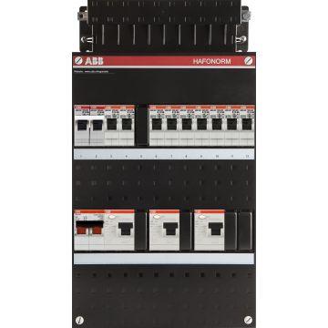 ABB Hafonorm HAD installatiekast, 1-fase bedraad, 9 groepen, 3 aardlekschakelaars (30mA), met fornuisgroep, met 2 polen hoofdschakelaar (40A), (hxbxd) 330x220x90mm