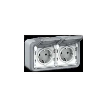 Legrand BTicino Plexo IP55 wandcontactdoos kunststof, grijs, 2 eenheden