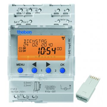 Theben TR 641/642/644 S digitale schakelaarklok voor paneelbouw, DRA (DIN-rail adapter)