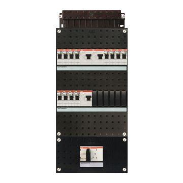 ABB Hafonorm HAD installatiekast, 3 fasen, 12 groepen achter 3 aardlekschakelaars(30mA), met 4 polen hoofdschakelaar, (hxbxd) 440x220x90mm