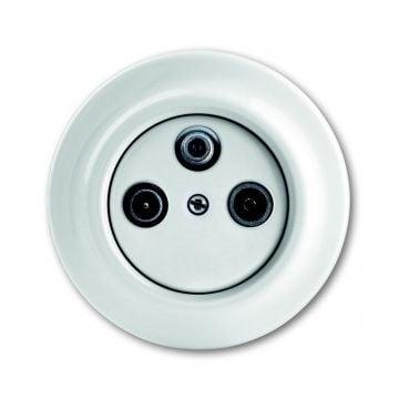 Busch-Jaeger Decento antennecontactdoossokkel porcelein, wit