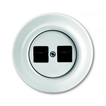 Busch-Jaeger Decento centraalplaar voor 2 Modular Jack connectors met draagring porcelein, wit