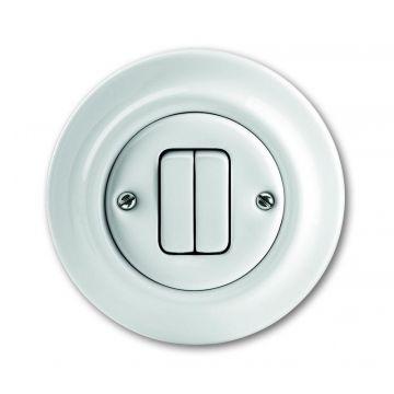 Busch-Jaeger Decento wip-impulsdrukker 2-polig twee maakcontacten (NO) porselein, wit