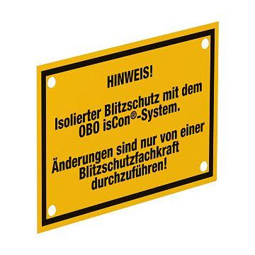 Obo IsCon toebehoren aardinging en bliksembev., type toebehoren waarschuwingsbord