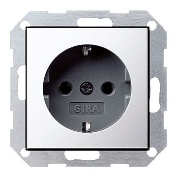 Gira ClassiX Chroom wandcontactdoos, metaal/kunststof, chroom