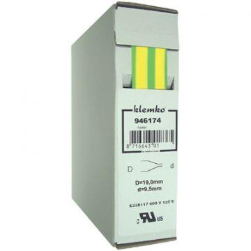 Klemko krimpslang dunwandig, polyolefine (PO-X), groen/geel, type warmkrimp