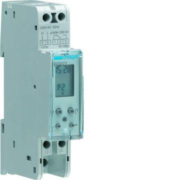 Hager digitale schakelaarklok voor paneelbouw, DRA (DIN-rail adapter), 1 kanalen