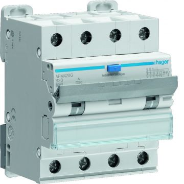 Hager aardlekautomaat 4, uitschakelaarkarakteristiek B, nom. (meet)spanning 400V