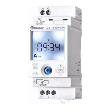 Finder S12 NFC digitale schakelaarklok voor paneelbouw, DIN-rail, 1 kanalen, voedingsspanning