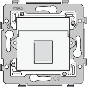 Niko basiselement 1x RJ45-aansluiting UTP cat. 5E vlakke uitvoering sokkel en afwerkingsset, wit