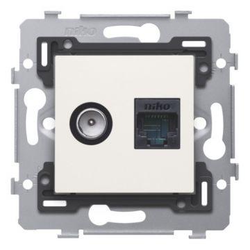 Niko Original combinatie coax met RJ45 aansluiting UTP Cat6 vlakke uitvoeringsokkel en afwerkingsset, wit