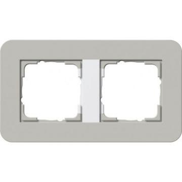 Gira E3 afdekraam 2-voudig grijs-zuiverwit