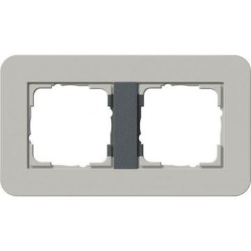 Gira E3 afdekraam 2-voudig grijs-antraciet