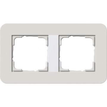 Gira E3 afdekraam 2-voudig lichtgrijs-zuiverwit