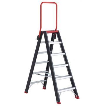 Altex Taurus dubbelzijdige trap met 6 treden en veiligheidsblokkade