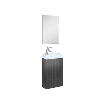 Plieger Senza toiletmeubel m. 1 deur m. spiegel 40cm m. omkeerbare keramische wastafel antraciet