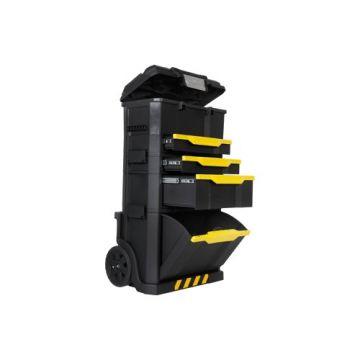 STNL gereedschapkist/tas trolley, kunstst, zw/geel