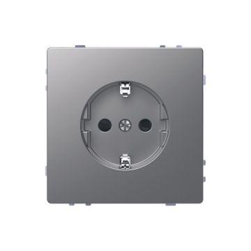 Schneider Electric Merten Systeem Design wandcontactdoos met kinderbeveiliging, rvs look