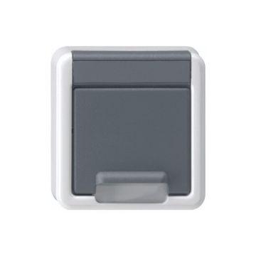Gira opbouw wandcontactdoos met randaarde aanraakbeveiliging, grijs