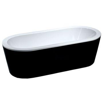 Wiesbaden Nero vrijstaand acryl ligbad inclusief waste 178x80 cm, zwart/wit