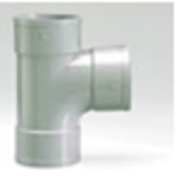 Sub PVC tee 90gr. mof/spie grijs 75 mm