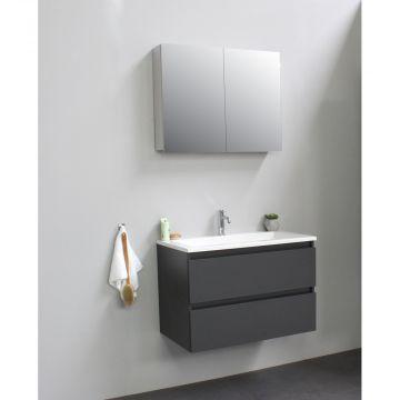 Sub Online badmeubelset met wastafel met 1 kraangat met spiegelkast grijs (bxlxh) 80x46x55 cm, mat antraciet / glans wit