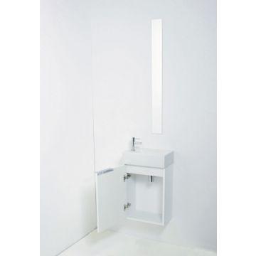 Sub Top fonteinpack porseleinen fontein kraangat links en wastafelonderkast greeploos gelakt 1 deur links, hoogglans wit