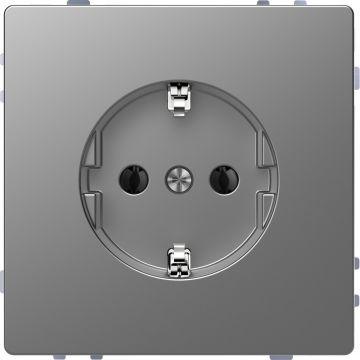 Schneider Electric Merten Systeem Design wandcontactdoos met randaarde, rvs look