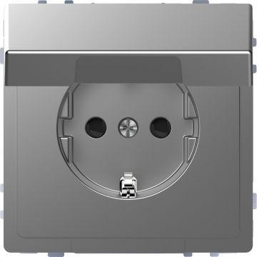 Schneider Electric Merten Systeem Design wandcontactdoos met klapdeksel kinderbeveiliging, rvs look