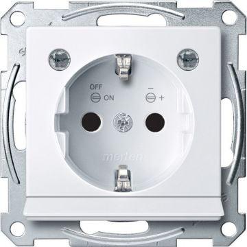 Schneider Electric Merten wandcontactdoos met LED-verlichtingsmodule en aanraakbeveiliging, actief wit