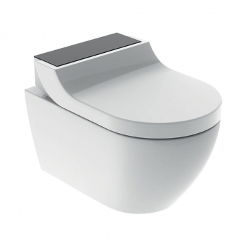 Geberit AquaClean Tuma Comfort douche wc met zwartglas-decorplaat, wit