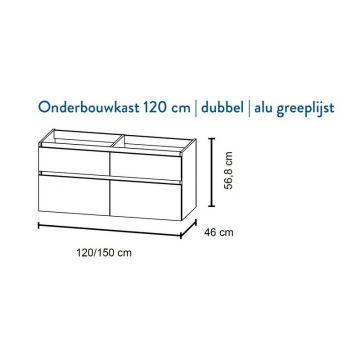 Bruynzeel Pinto onderbouwkast voor dubbele wastafel 56,8 x 120 x 46 cm met 4 laden, mat wit