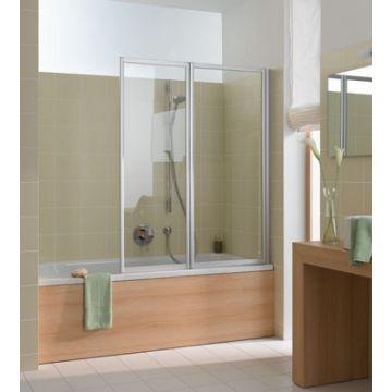 Kermi Vario badklapwand 2-delig 115 cm. parelglas, matzilver-kunststof glas